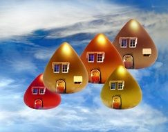 background fantasy fairy tale little houses