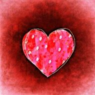 red background with romantic heart