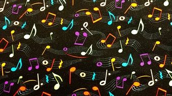 fabric with colorful music notes