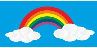 rainbow blue sky white clouds drawing