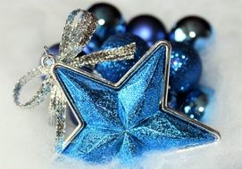 christmas star and balls blue decoration