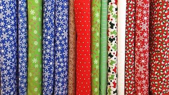 textiles with Christmas pattern