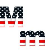 M letter with american flag pattern