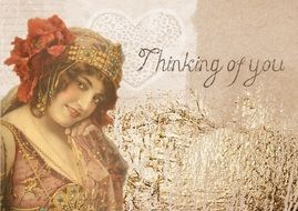 romantic vintage card with a lady
