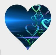 abstract love blue heart on greeting card
