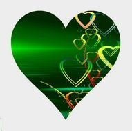 abstract love green heart on greeting card