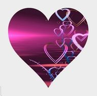 abstract love purple heart on greeting card