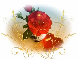 white background with red flowers and heart