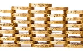 creatively stacked gold coins
