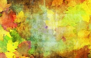 autumn leaves on canvas