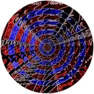 creative batik artwork blue red