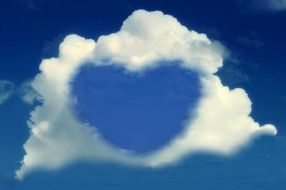 heart on the blue sky