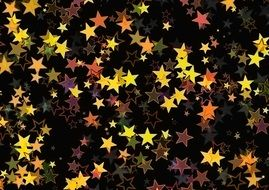 colorful stars on the black background