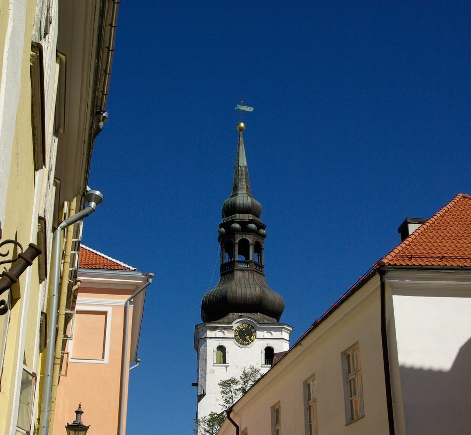 distant view of the dome with a spire in Tallinn