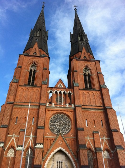 facade of the cathedral with spiers in the city of Uppsala