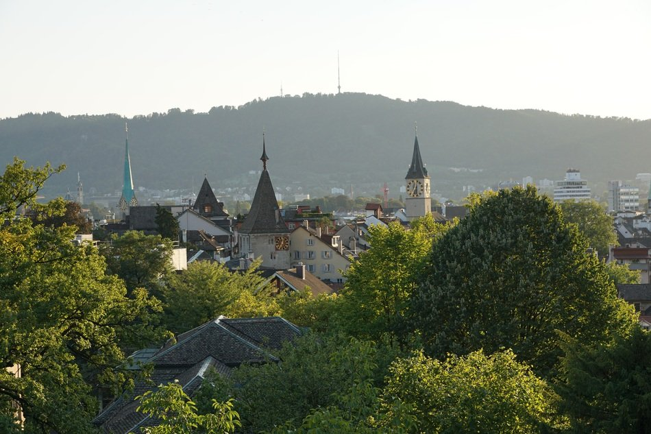The roofs and spiers of Zurich in the background of the picturesque nature