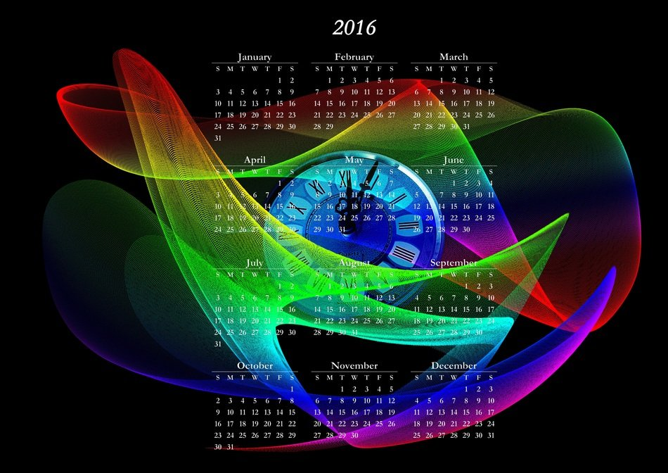 new year's day calendar 2016 colorful pattern