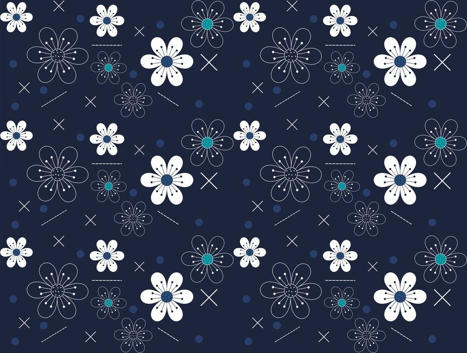 blue background abstract flowers