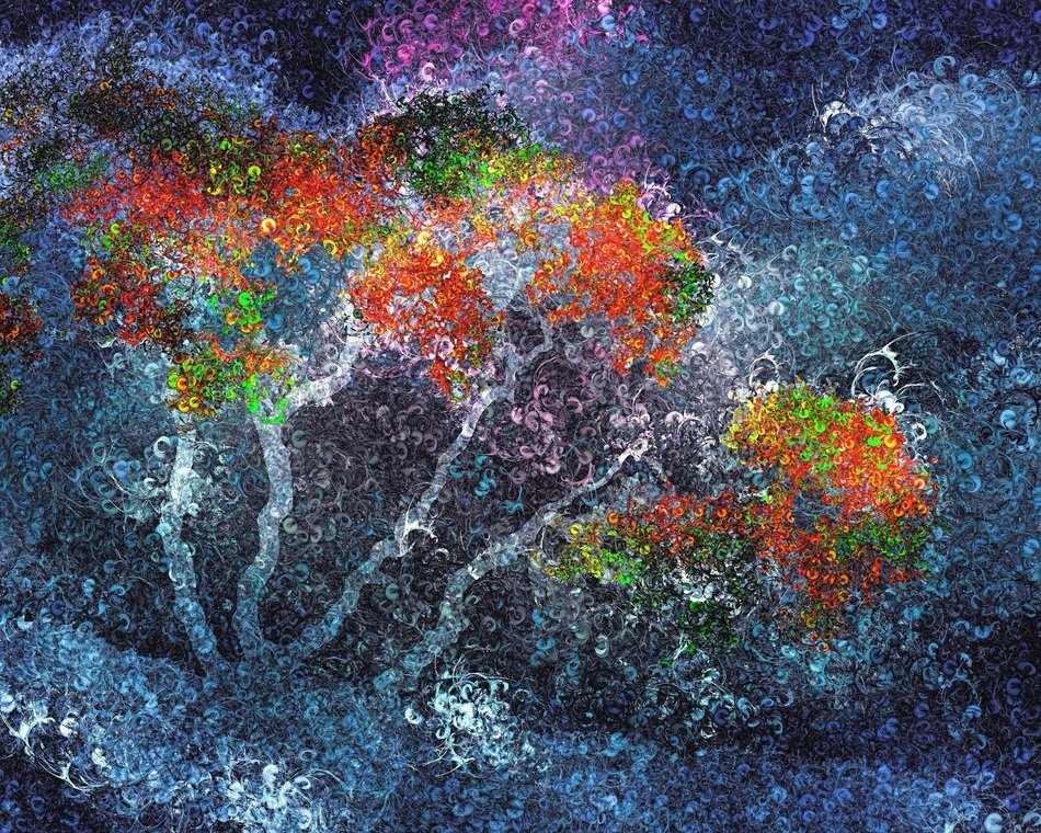 abstract digital art colorful decor trees