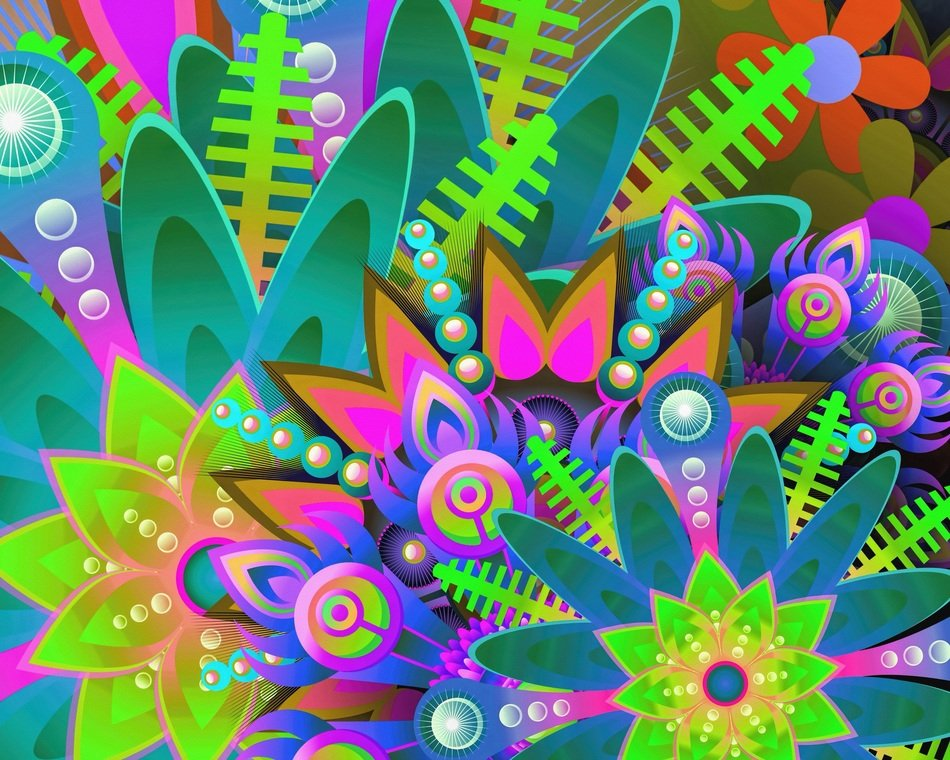 abstract digital art creative colorful flowers