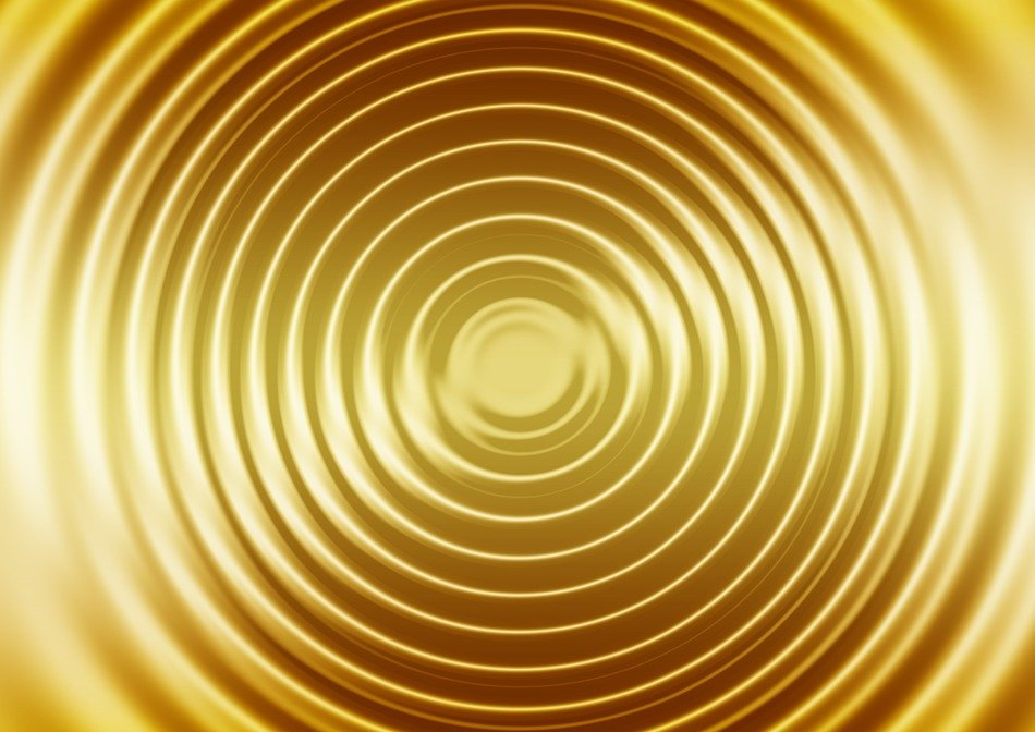 gold concentric waves and circles background image