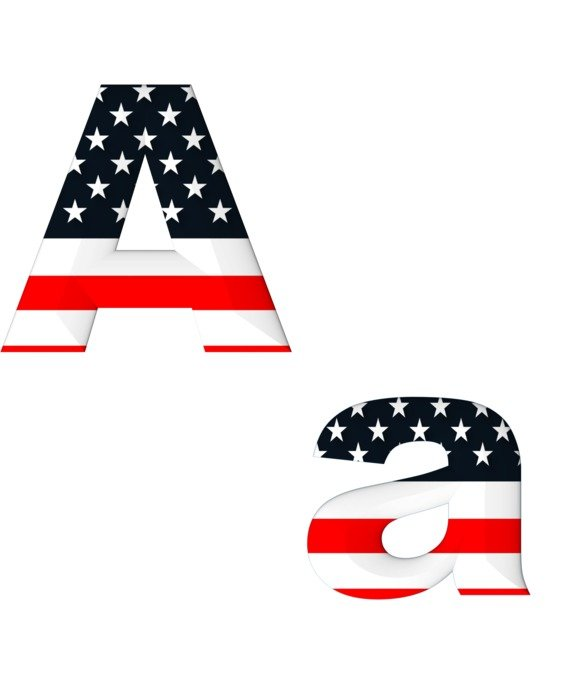A letter with american flag pattern