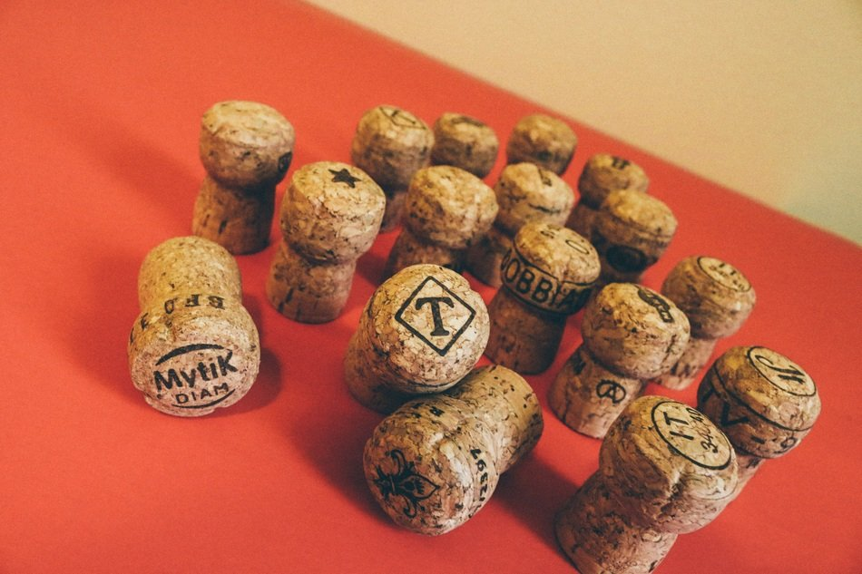 wine and champagne wooden corks