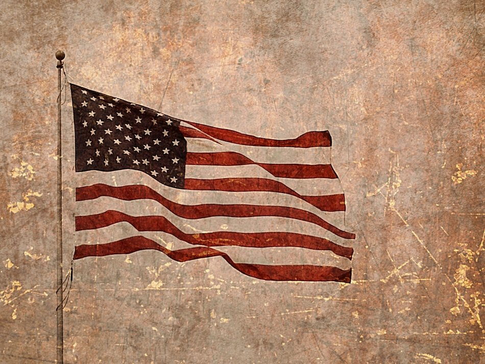 American flag on a rough texture