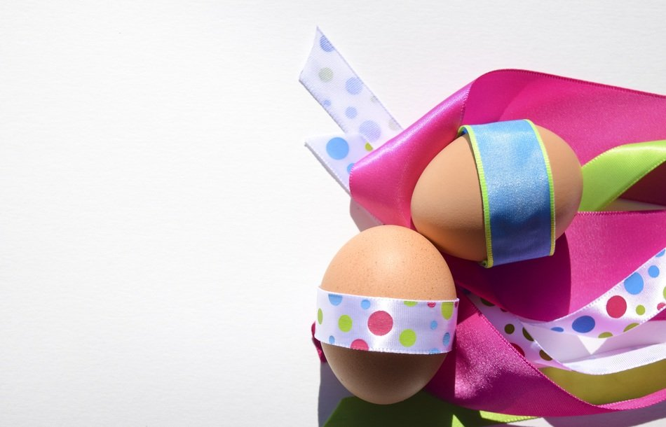eggs happy easter spring holiday with a ribbon