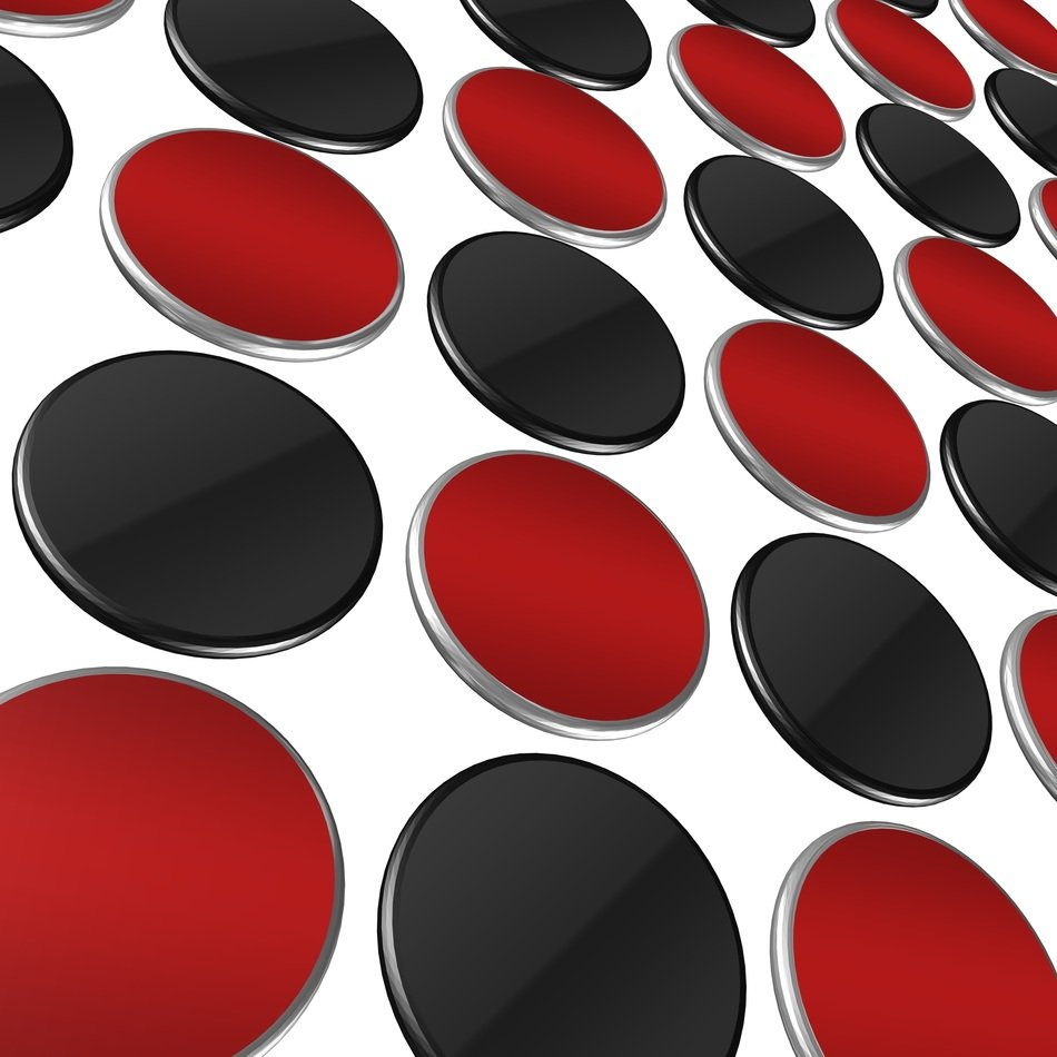 abstract art red and black circles