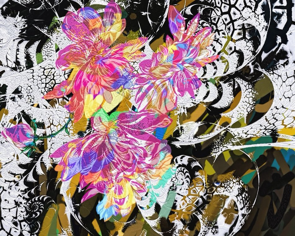abstract digital art colorful flowers