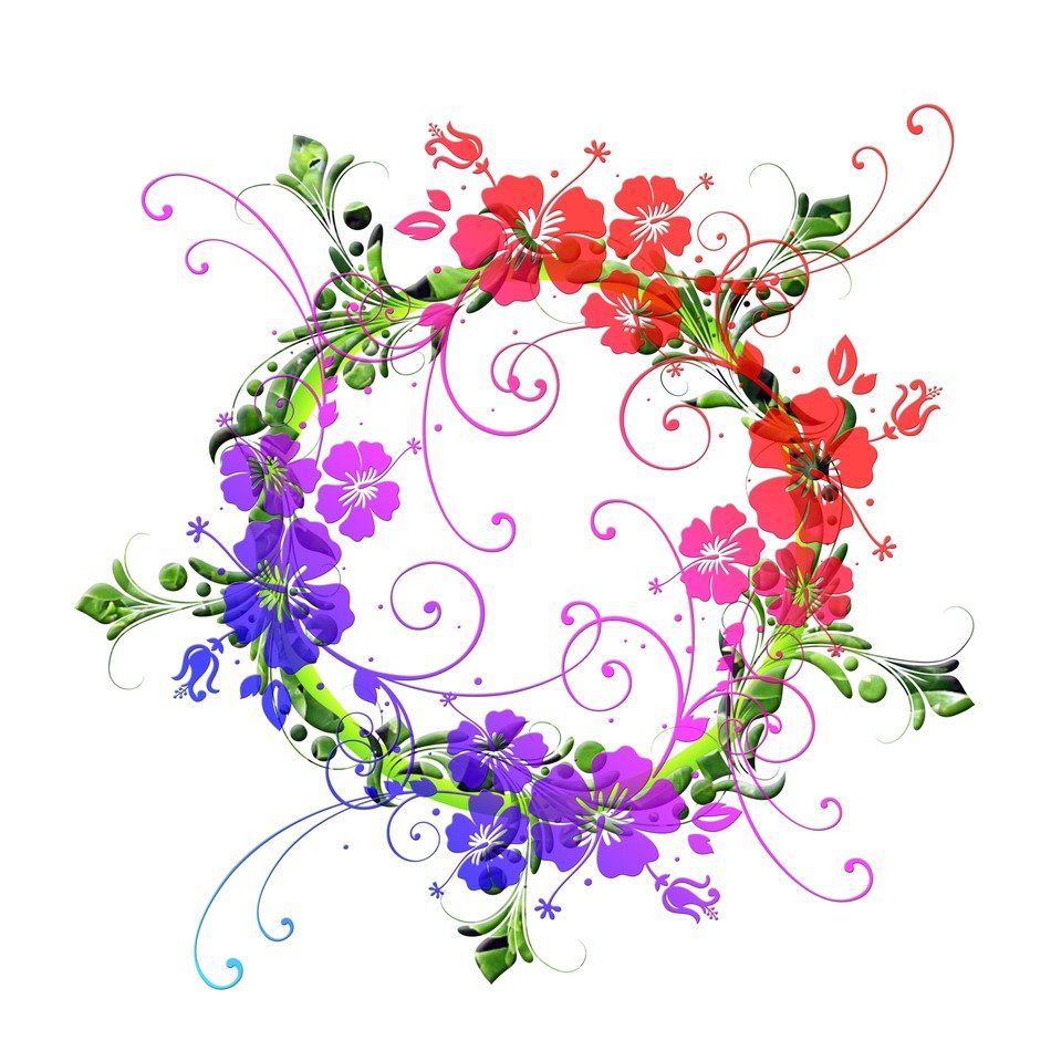 red blue purple color flowers floral design pattern