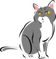 cute Gray Cat drawing
