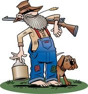 Original Hillbilly with the dog clipart