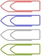 four colorful Paper Clips, drawing