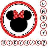 Happy Birthday, border with silhouette of Minnie Mouse head