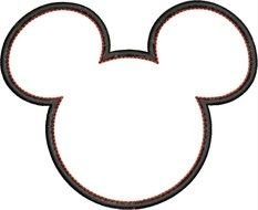 Outling drawing of the head of Mickey Mouse clipart