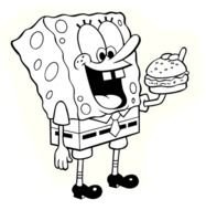 painted Sponge Bob with a hamburger in a coloring book