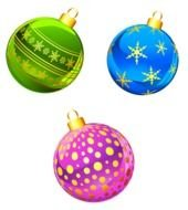 Colorful shining Christmas ball decorations clipart