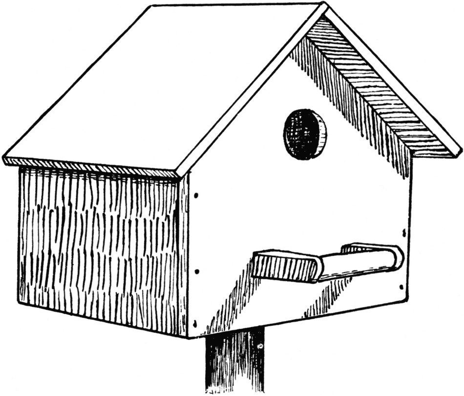 Bird House Clip Art drawing
