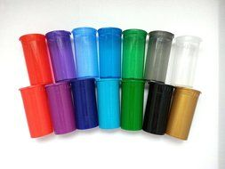 WOW! Assortment of 14 Multi Color 13 Dram Pop Top Bottle Vial Container Van Cave