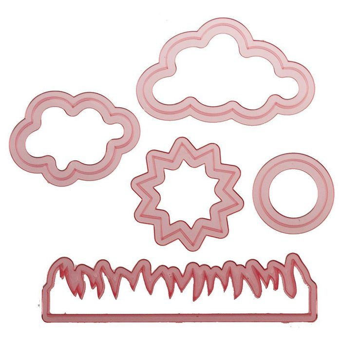 Sweet Elite Tools - Nature Cutter Set- Sun, Clouds, Grass, Fire - for rolled fondant, gumpaste or cookies - By...