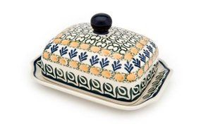 Polish Pottery Herb Garden Butter Dish