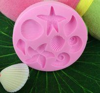 Click Down Starfish Shell Conch Design Silicone Mould Cake Topper Decoration Fondant Mold N2