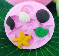 Click Down Starfish Shell Conch Design Silicone Mould Cake Topper Decoration Fondant Mold N3