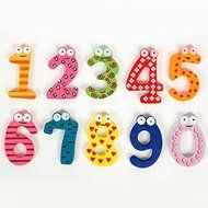 ASDOMO Cartoon Educational Toy Wooden Fridge Magnet For Baby Kid Gift Numbers 10 PCS