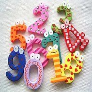 ASDOMO Cartoon Educational Toy Wooden Fridge Magnet For Baby Kid Gift Numbers 10 PCS N4