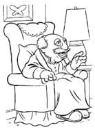 cartoon old man sits on armchair in room, coloring page