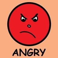 red Angry Face ClipArt drawing