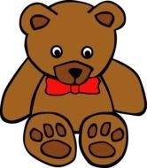 brown teddy bear with a red bow